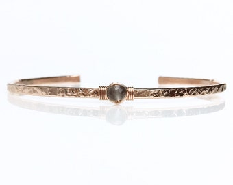 Genuine Gray Moonstone Cuff Bracelet / Gray Moonstone Cuff / 14k Gold Filled Skinny Cuff / June Birthstone / Birthday Gift for Her