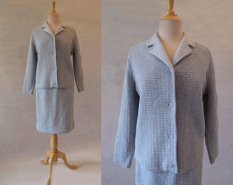 Blue and Silver Wool and Lurex Suit - 1960s