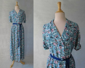 Floral House Dress, Robe - 1940s
