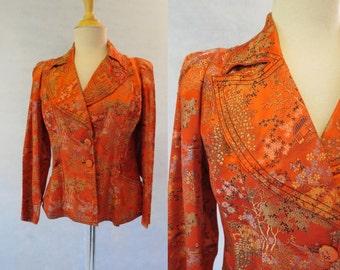 1970s Vintage - Vintage Jacket - Red Chinese Jacket - Women's Jacket - Fits Bust 91 cm