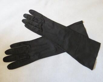 Black Kid Suede Leather Gloves - 1950s