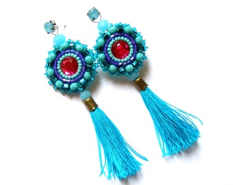 Bead embroidered earrings - Roksana