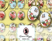 75% OFF SALE Digital collage Sheet OVAL Shabby Roses 18x25 mm Digital Collage Sheet for pairs of earrings