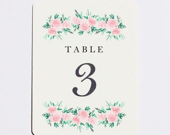 Watercolor Rose, Floral, Wedding / Reception / Event Table Numbers