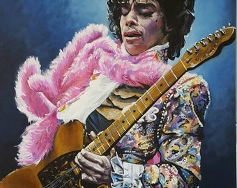 "8"" x 10"" Print of Original Painting of Prince/ Prince Art/ Portrait of Prince Playing Guitar"