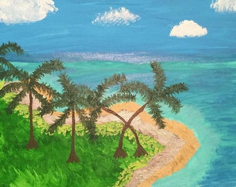 Hand Painted Tropical Island