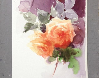 Roses - Original Watercolor Painting 9x12 inches Flowers Mother's Day