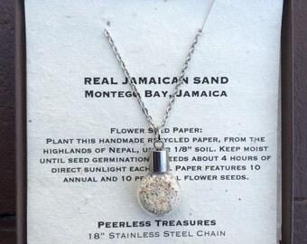 Jamaican Sand Necklace - Stainless Steel Necklace - Jamaican Necklace - Glass Vial Necklace - Cognac - Jamaican Sand - Beach - Ocean - Sand