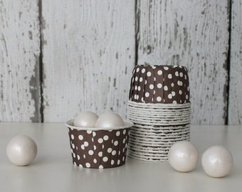 CANDY CUPS - Brown with White Dots - Set of 20 : The Paper Doll