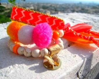 Handwoven Chevron Friendship Bracelet . Neon Pink/ Orange