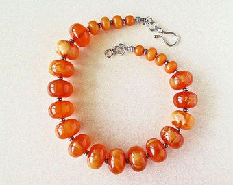 Huge Resin Amber Beads Tribal Necklace.  Boho.  Silver accents.  Statement necklace.  African handmade beads.