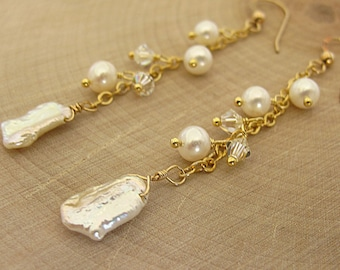 White Keishi Freshwater Pearls and Swarovski Crystal Earrings in 14k Gold Filled Earwire