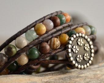 Earthy triple wrap beaded bracelet. Bohemian chic wrap bracelet