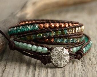 Teal, turquoise, copper beaded bracelet. Long leather wrap bracelet
