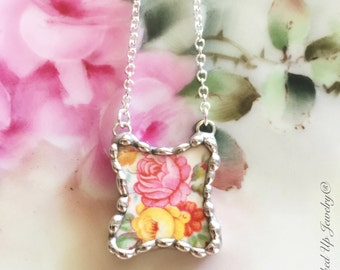 Broken China Jewelry, Broken China Necklace, Pink Rose, Yellow Rose,  Floral Necklace, Recycled China, Colorful Floral