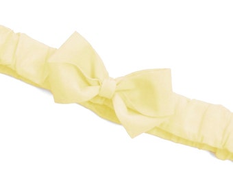 Buttermilk Ruffled Bow Headband . Baby sizes: 0-6m, 6-12m, 12m plus & Made to Measure for Preemie, Baby, Toddler, Girls, Adults