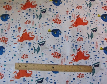 White with Multicolor Finding Dory/Nemo Cotton Fabric by the Yard