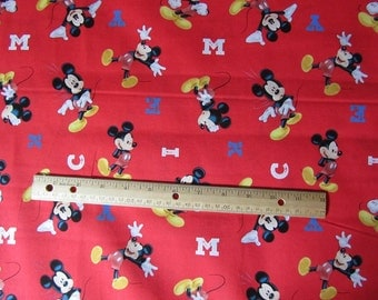 Red Mickey M Toss Cotton Fabric by the Yard