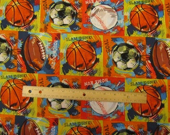 Multicolor Sports Balls Blocked/Football/Baseball/Basketball/Soccer Cotton Fabric by the Yard
