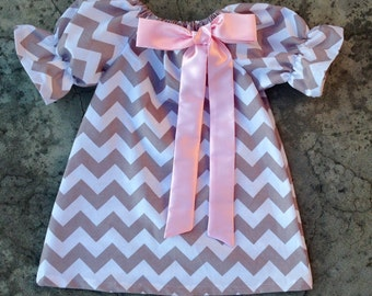 Girls easter dress, baby girl clothes, baby girl easter dress, toddler girl easter dresses, gray chevron and baby pink, girl outfits