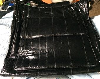 Medium Eel Skin Shoulder Bag Black Bag with Metal Feet