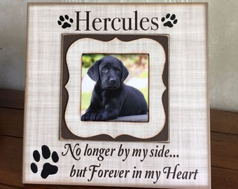 """Pet Memorial Frame ~ Customized Dog Frame ~ Personalized Cat Frame ~ Pet Memory Photo Frame ~No Longer By My Side 8""""x8"""" Picture Frame-"""