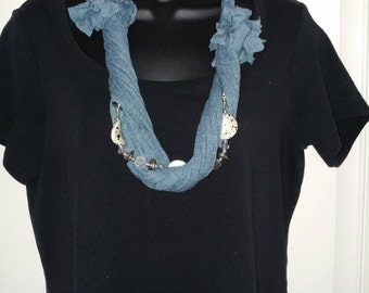 Fun upcycled t-shirt necklace
