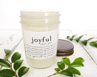 8 oz JOYFUL (citrus + pine) hand poured soy wax jar candle