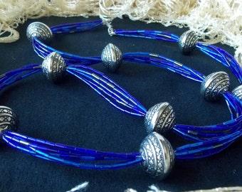 Multi Stranded Blue Necklace