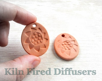 Aromatherapy Essential Oil Diffuser Jewelry, Healing Necklace, Abstract Sunflower, Textured Terracotta Ceramic Pendant Terra Cotta Jewellery
