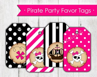 Pink Pirate Party Favor Tags- Instant Download