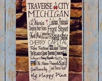 "Traverse City Michigan subway art,  wood sign 12""x5.5"""