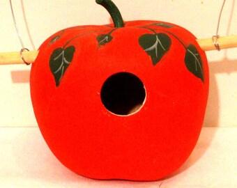 Bright Red Apple Gourd Birdhouse, Medium, Handpainted (GBH568)