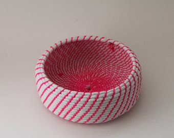 Upcycled Natural & Neon Rope Basket: Pink / Coiled / Large