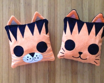 Machine Embroidery Cat and Tiger Pillow Stuffies - In The Hoop
