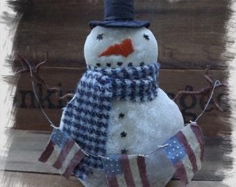 Primitive Snowman Primitive American Flag Snowman Patriotic Winter Home Decor