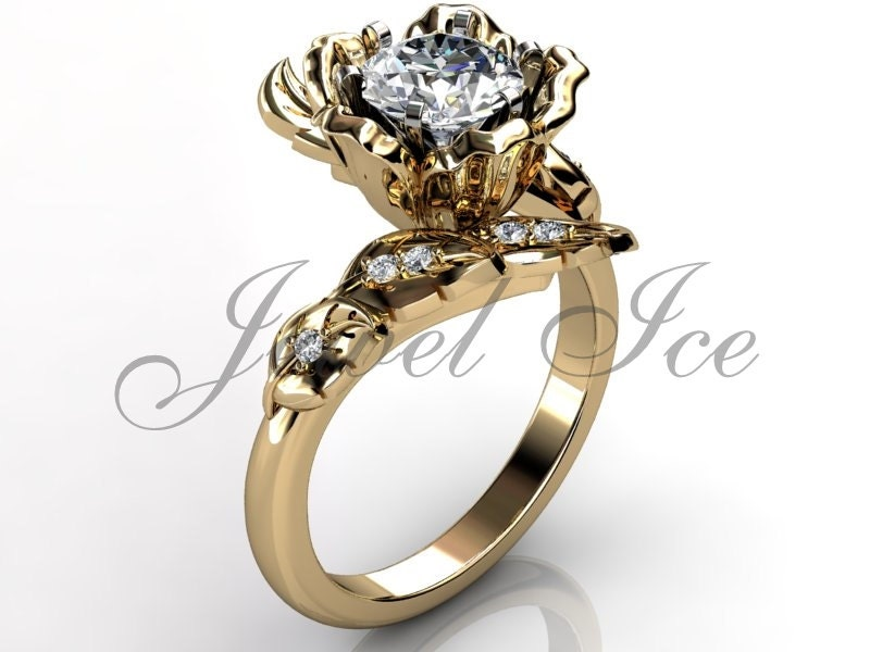 14k yellow gold unique flower engagement ring