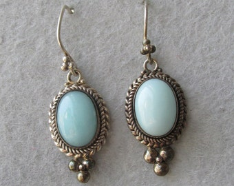 BIG 1980's Sterling Silver & Larimar Vintage Dangle Pierced Earrings