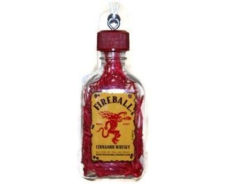 Fireball,  Christmas Ornament, Miniature Fireball Whisky, Fireball Christmas Ornament, Handmade Ornament, Gift under 5 dollars