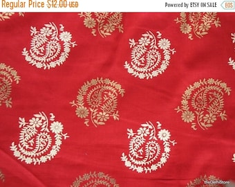 Flat 25% Off Red Cotton Fabric with Paisley Block Print by Yard