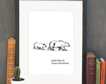 A4 Polar Bear Watercolour Art Print