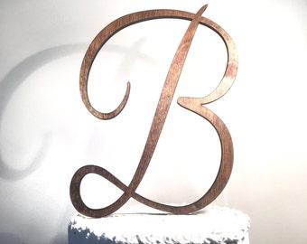 Wooden Wedding Cake Topper: Letter B, Monogram Cake Topper, Rustic Cake Topper, Handmade Cake Topper