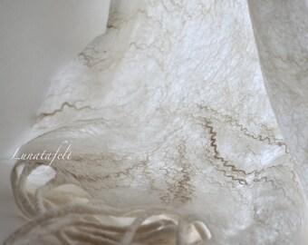 Dandelion - cobweb nunofelt ligth weight wool and silk big scarf,long fringed wrap, shawl 170x60 cm, for any season, OOAK, ready to ship