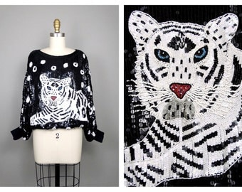 WHITE TIGER Sequined Top // Wild Batwing Dolman // Black and White Animal Embellished Blouse