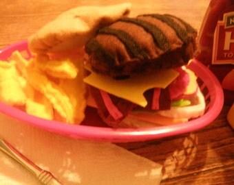 New Felt Cheeseburger with Fries, Felt food