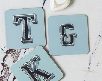 Initial Coasters - Initial Kitchen Art - Grey Coasters - Blue Coasters - Alphabet Coasters - Drinks Mats - Alphabet Drinks mats