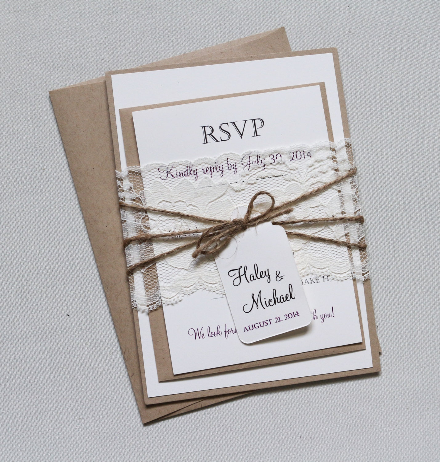 Rustic Lace Wedding Invitation Elegant Wedding Invitation