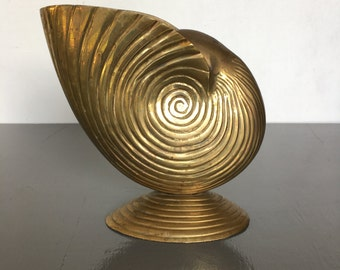 vintage brass shell planter nautilus art footed vase