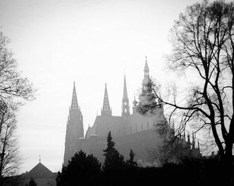 Black And White Prague Photo - Prague Castle Church - Saint Vitus Church Prague - Czech Republi  - Fine Art Photography - Large Wall Art