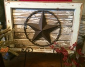 Salvaged Antique Window Frame with Texas Star on Salvaged Wood